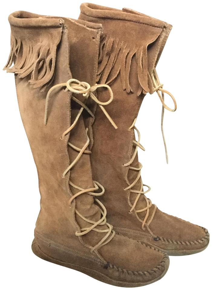Minnetonka Brown Knee Softsole Double Leather Bottom Knee Brown Hi Fringe Moccasins Boots/Booties 2eabf6