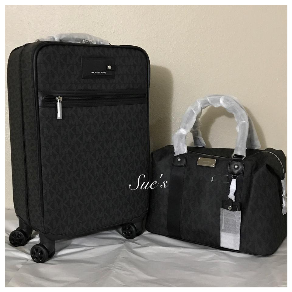 79c9c95e0ef Michael Kors 2pc Mk Trolley Luggage and Large - Black Weekend Travel ...