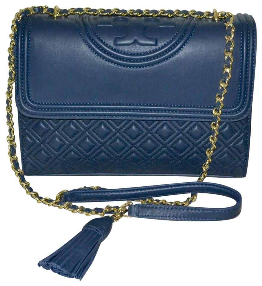 47ee4673bba Tory Burch Fleming Large Convertible Royal Navy Leather Shoulder Bag ...