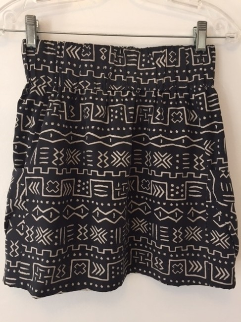 Dolce Vita Silk Mini Skirt Charcoal with cream tribal print Image 3