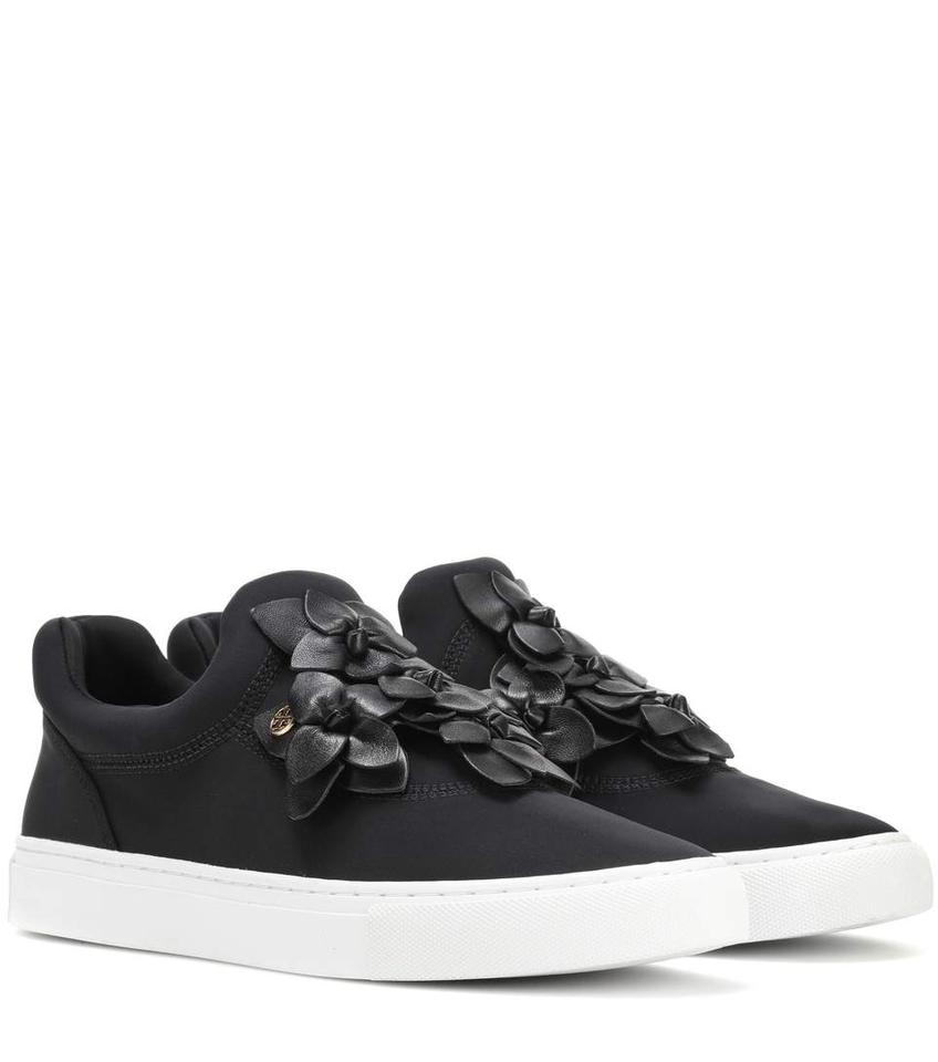 70e5d4a680d6 Tory Burch Black New Embellished Blossom Floral Leather Sneaker Slip On  Flat Sneakers