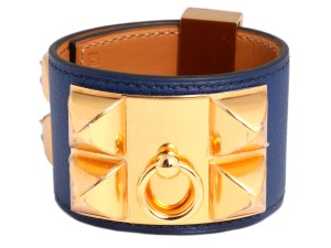 Hermès COBALT BLUE SWIFT COLLIER DE CHIEN CDC BRACELET
