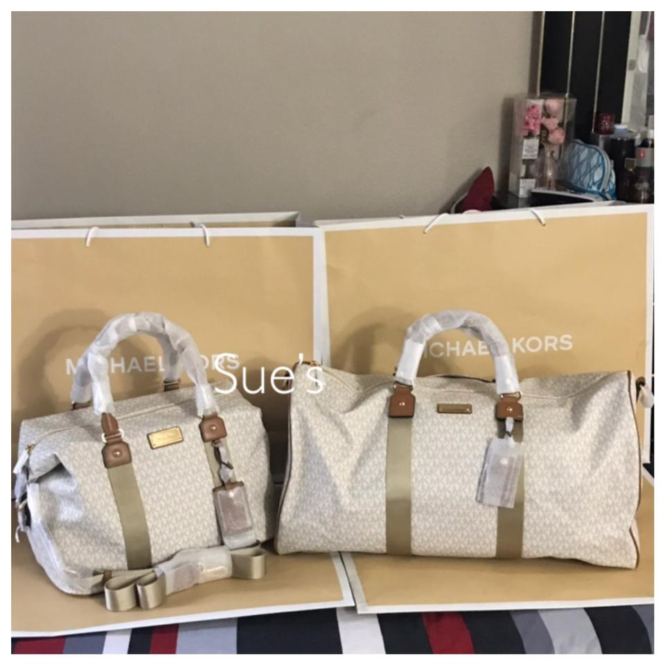 327967880c49 Michael Kors 2pc Mk Duffle and Large Vanilla Weekend Travel Bag ...