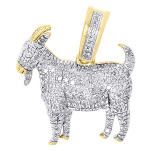 Jewelry For Less 10K Yellow Gold Diamond GOAT Greatest Of All Time Pendant Charm .42 CT