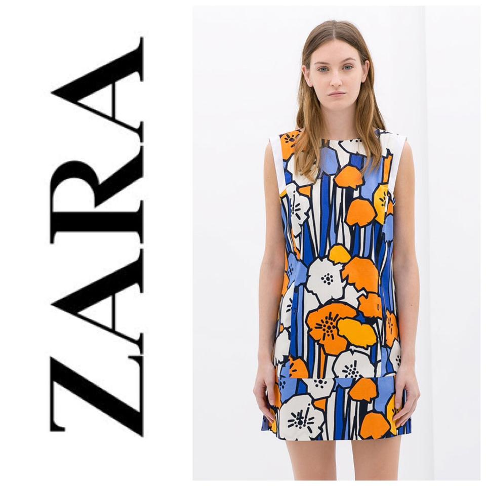 Zara White Blue Orange Flower Abstract Print Short Casual Dress Size