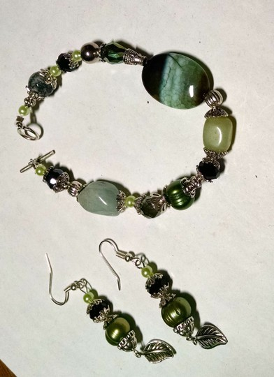 Other New Agate Green Aventurine Gemstone Pearl Bracelet Earrings Set J821