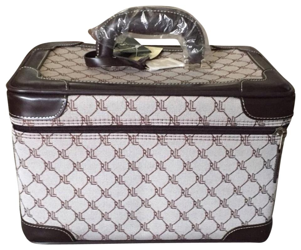 Lauren Ralph Lauren Monogram Train Case Brown Canvas and Leather ... 92d7a8ca3ce16
