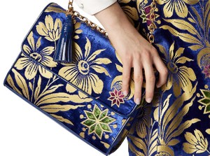 Tory Burch Limited Edition Embroidery Floral Velvet Chain Tote Shoulder Bag
