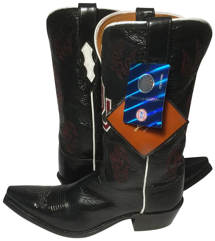 5611460b4 Lucchese Black University Of Oklahoma Cowgirl Women Boots Booties ...
