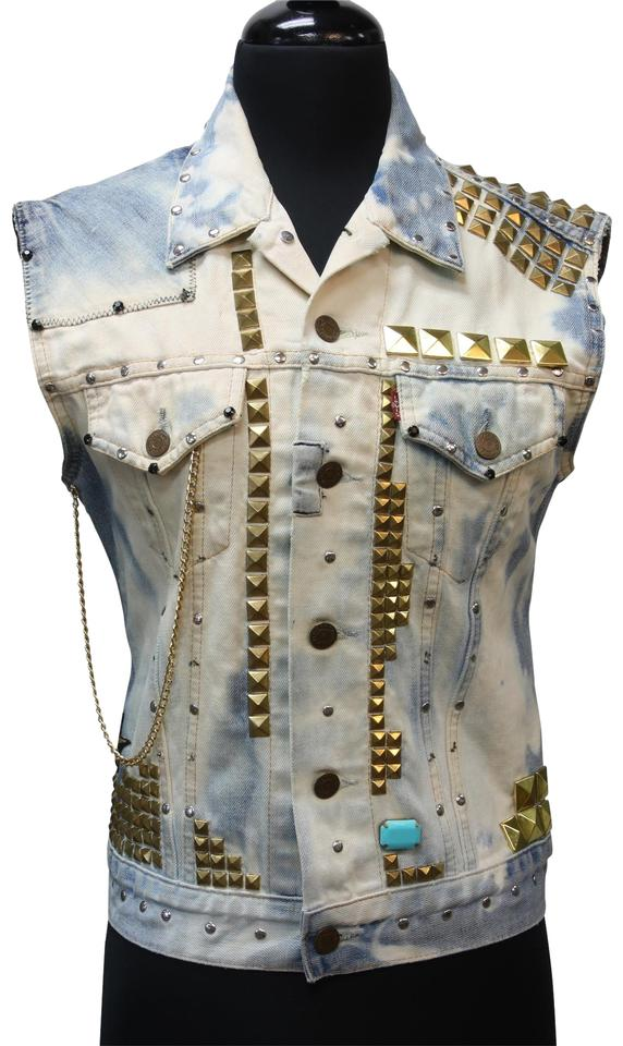 ba54089a2fa2 Levi s Light Denim Strauss  rock More  Studded Distressed Chain Patchwork  Vest. Size  4 ...