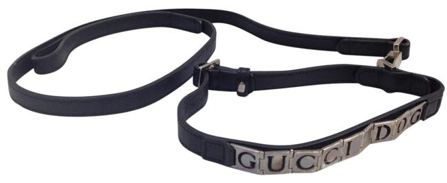 Item - Black & Silver Leather Dog Collar Matching Leash with Trim