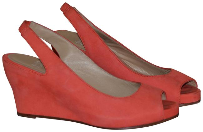 Item - Coral Suede Peep Toe Sling Backs Wedges Size US 6.5 Regular (M, B)