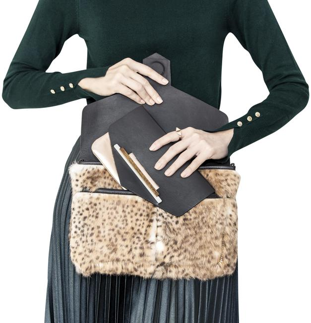 Item - The San Remo - Fluffy Cheetah Camel Leather Clutch