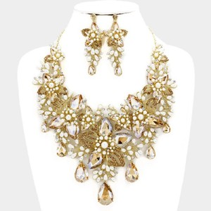 Gold Brown Rhinestone Off White Pearl Crescent Floral and Crystal Necklace