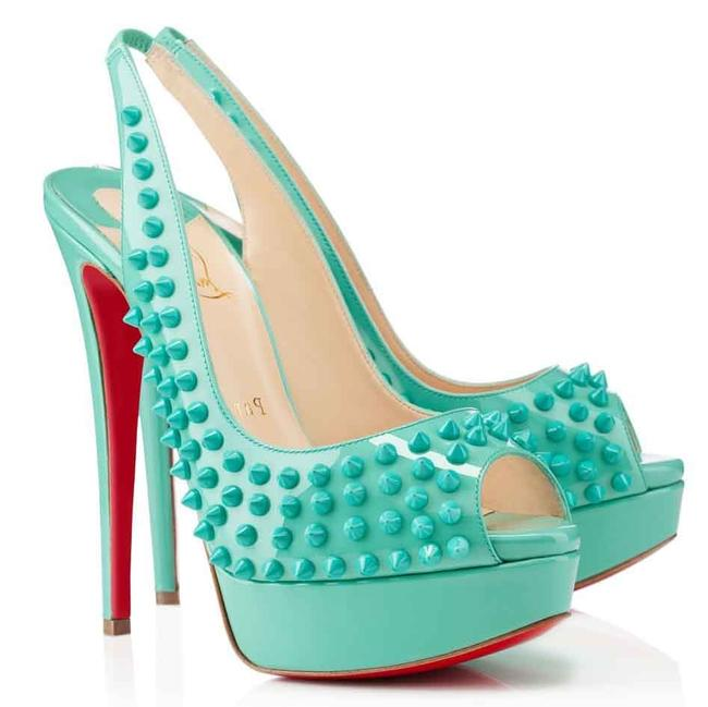 Christian Louboutin Turquoise Lady Peep Patent Spike Platform Sling High Heel Red Sole Sandal Italy Pumps Size EU 36.5 (Approx. US 6.5) Regular (M, B) Christian Louboutin Turquoise Lady Peep Patent Spike Platform Sling High Heel Red Sole Sandal Italy Pumps Size EU 36.5 (Approx. US 6.5) Regular (M, B) Image 1