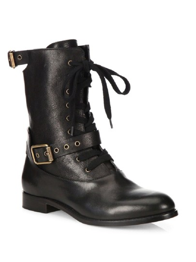 Chlo 233 Black Leather Combat Boots Booties Size Eu 38