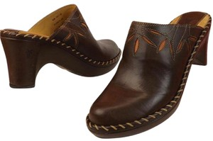 Frye Leather Floral Wooden Heel Stitched Dark Brown Mules
