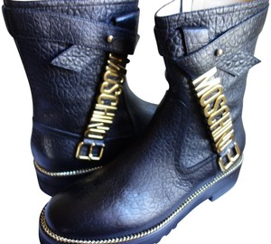 Moschino Leather Monogram Black and gold Boots
