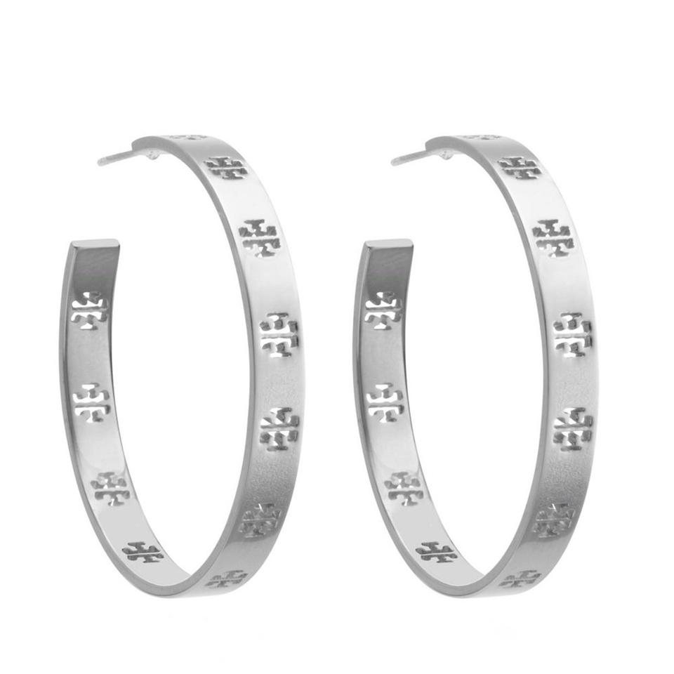 Tory Burch Pierced T Logo Hoop Earrings