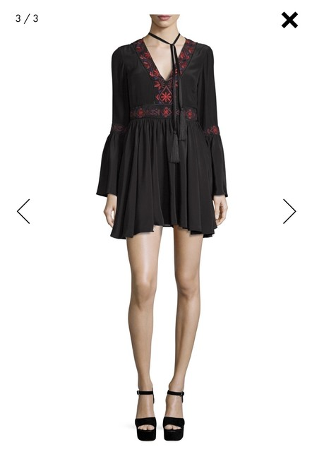 Cinq à Sept short dress Black with embroidery Bohemian Boho Mini Night Out on Tradesy Image 1