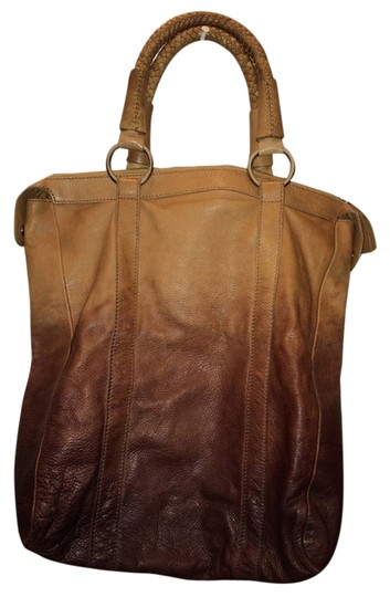 Max Mara Designer Leather Leather Tote in Brown and tan Ombre