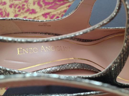 Enzo Angiolini Finton Hatch Leather Adjustable Ankle Strap Gold Pumps