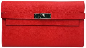 Hermès HERMES KELLY CLASSIC WALLET EPSOM LEATHER PALLADIUM SILVER RED