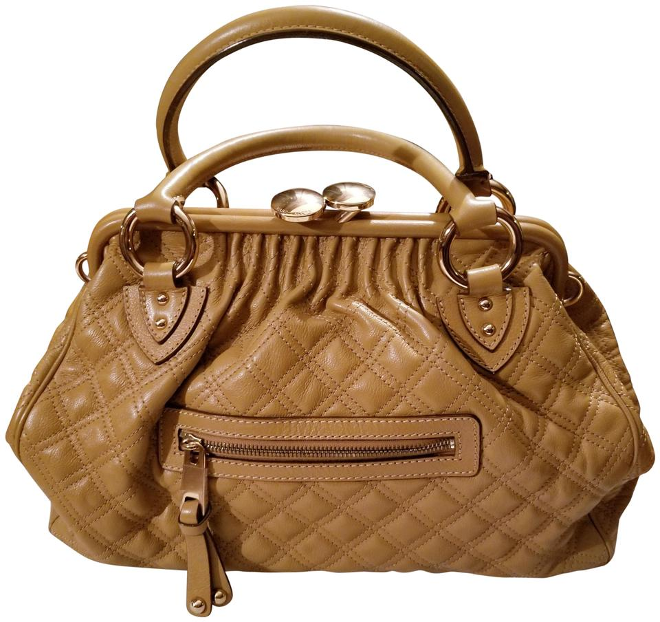 a0400e7a55e1 Marc Jacobs Leather Gold Hardware Large Stam Satchel in Tan Image 8.  123456789