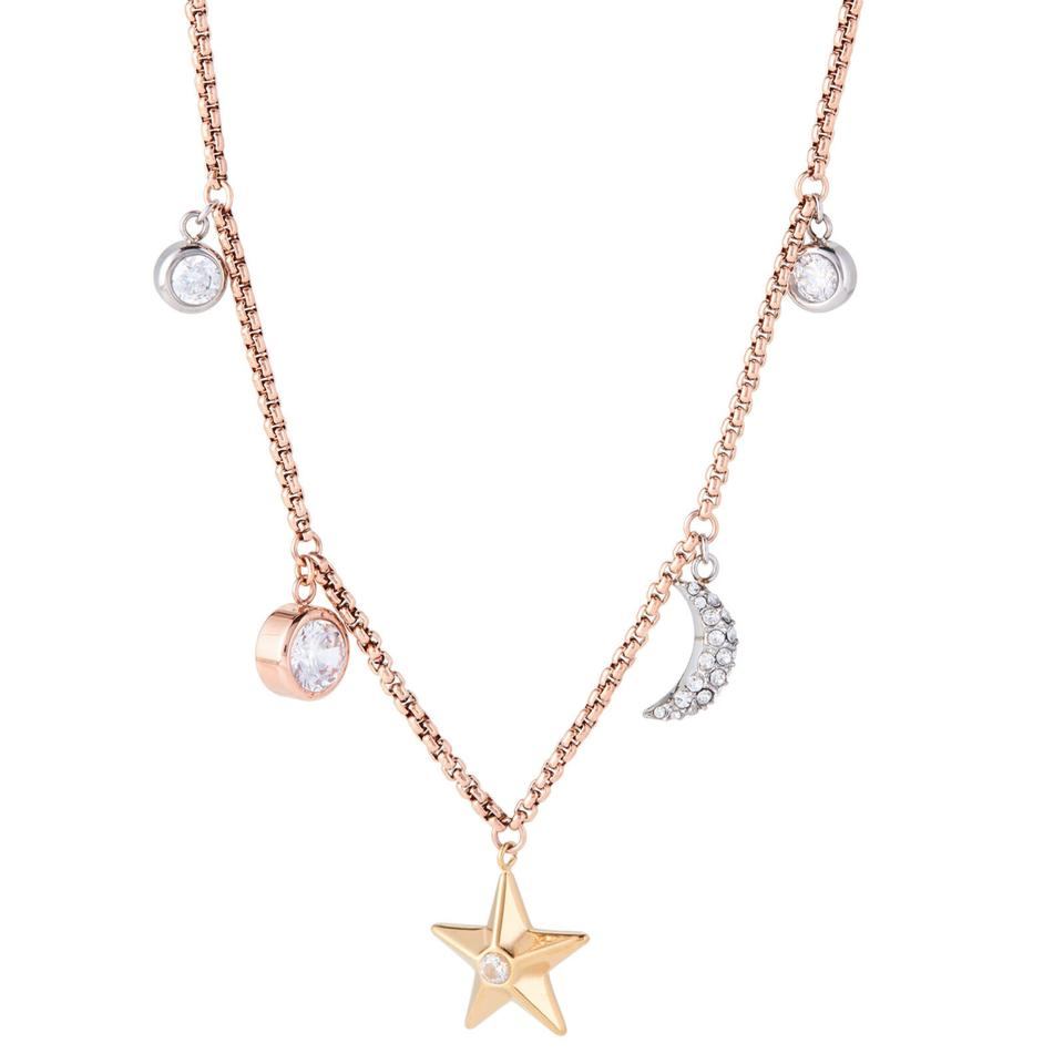 steel kors pendant michael row necklace tone pav pin gold triple celestial rose stainless