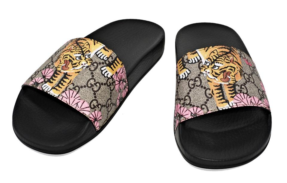 Gucci Multicolor Women\u0027s 408508 Gg Supreme Canvas Bengal Tiger Sandals Size  US 7 Regular (M, B) 40% off retail