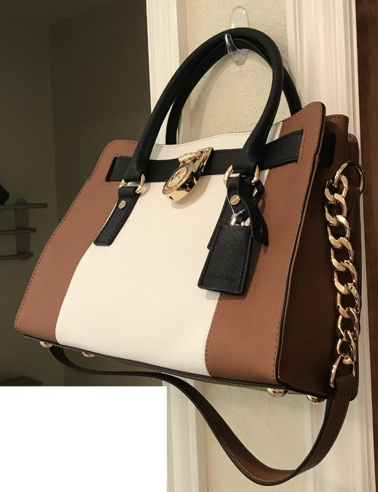 27111cfc605d Michael Kors Gold Medium Tote Shoulder Purse Satchel in Luggage Brown, Optic  White and Black. 12345678910