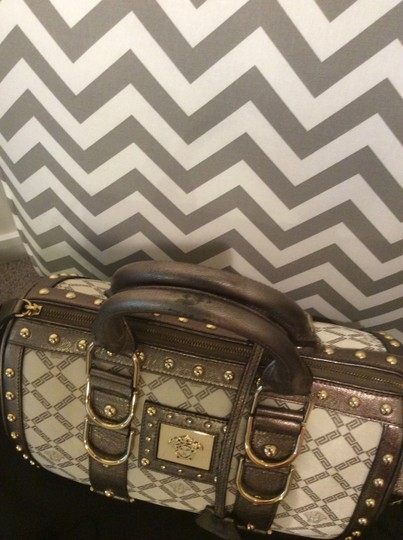 Versace Monogram Studded Leather Silk Satchel in Pearl, copper