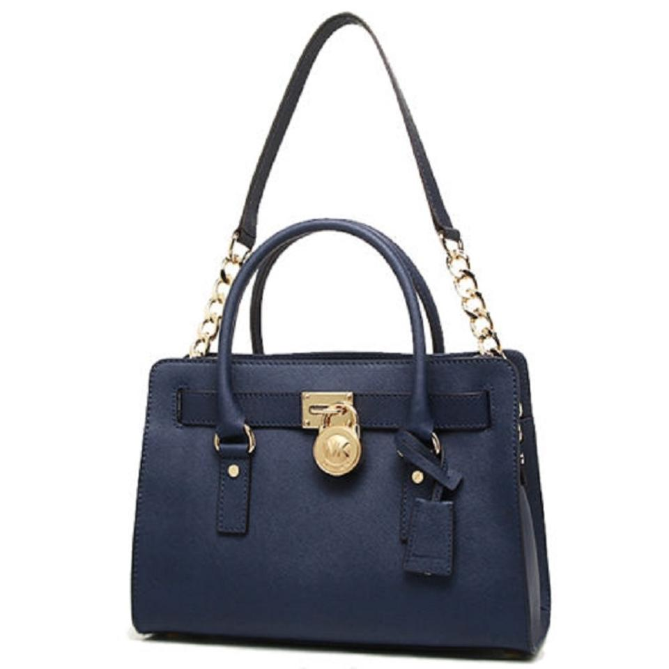 6db07cd0cd11 Michael Kors Tote Convertible East West Shoulder Medium Satchel in Navy  Blue Image 0 ...