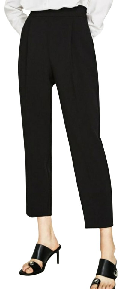7b66fbd2 Zara Black High Waisted Ankle/Cropped Trousers Pants Size 4 (S, 27 ...