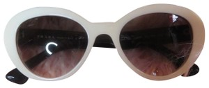 Prada Prada White & Black Womens Oval Sunglasses Authentic 140mm