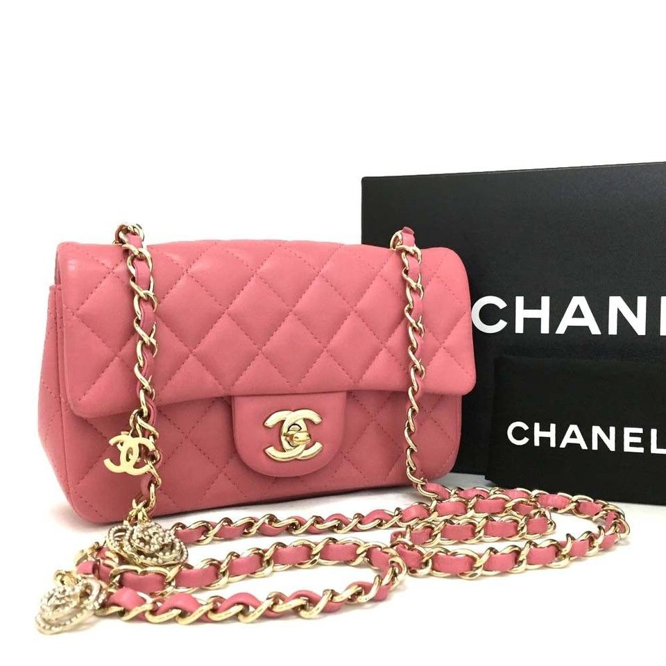 51ef26072c Chanel Classic Flap Like New Quilted Charms 4001 Pink Lambskin Leather  Shoulder Bag