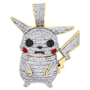 Jewelry For Less 10K Yellow Gold Diamond Cartoon Character Pikachu Pendant Charm .40 CT