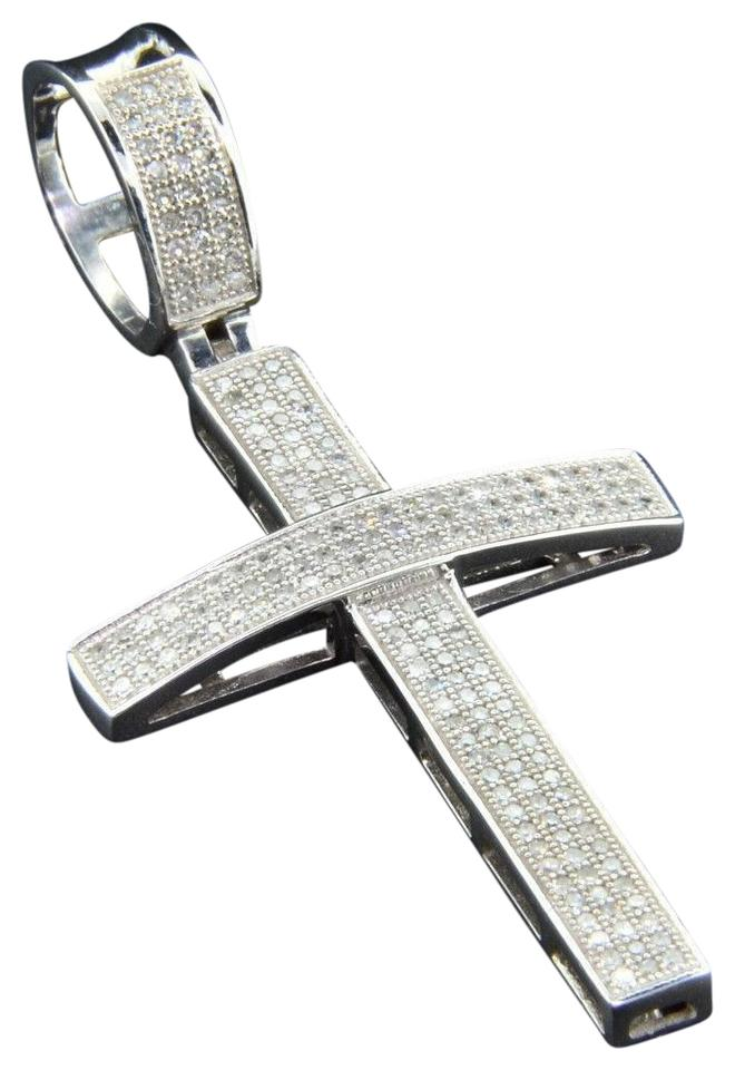 Jewelry for less white gold diamond cross pendant 10k pave round cut jewelry for less diamond cross pendant 10k white gold pave round cut 70 ct domed aloadofball Gallery
