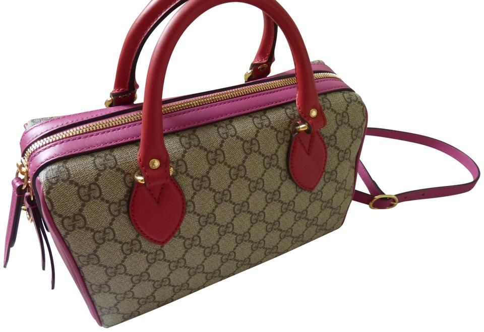 187498bec4f Gucci Spring Leather Canvas Italian Logo Satchel in Red Pink Beige Image 0  ...