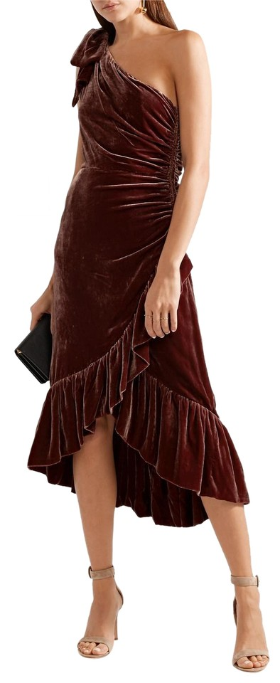 Ulla Johnson Burgundy Elisa One-shoulder Ruffled Velvet Cocktail ...