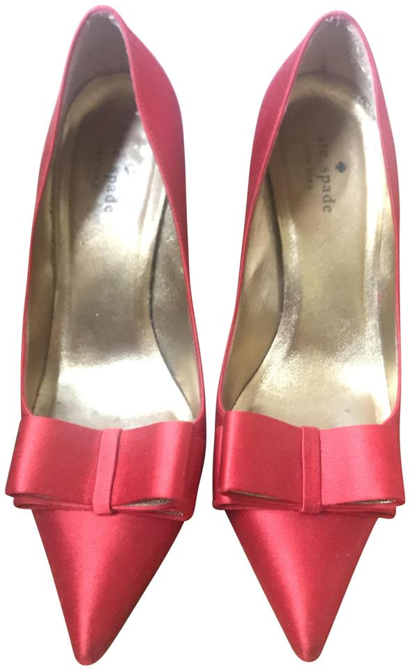 9f3df1b3f536 Kate Spade Red Latrice Satin Bow Pumps Size US 8.5 Regular (M