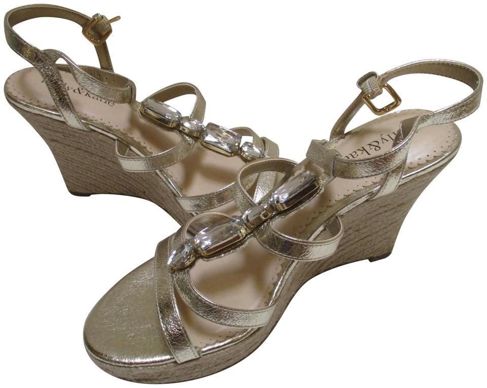 8db1e4816ade Kelly   Katie Gold Rachel Metallic Strappy Wedge Sandals Size US 7.5 ...