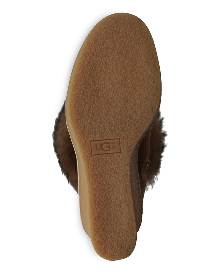 7d67f3869983 UGG Australia Chestnut Valberg Suede Sheepskin Tall Wedge Boots Booties  Size US 7 Regular (M