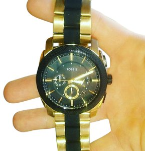 Fossil Mens Fossil Watch, Gold/Black(silicone), NWOT