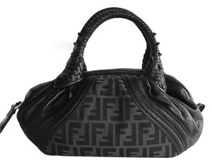 Fendi Large Zucca Canvas Braided Leather Satchel in Brown