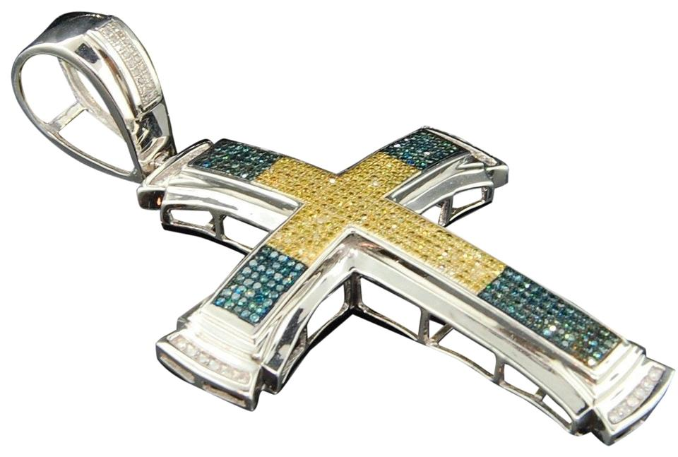 Jewelry for less silver yellow blue diamond cross pendant 925 jewelry for less yellow blue diamond cross pendant 925 sterling silver charm 151 ct mozeypictures Choice Image
