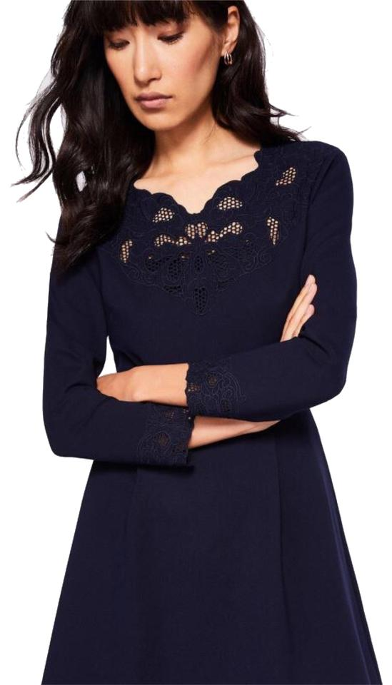 8684c18a317b9 Ted Baker Navy Blue Emey Cutwork Embroidered Flowers Work Office Dress