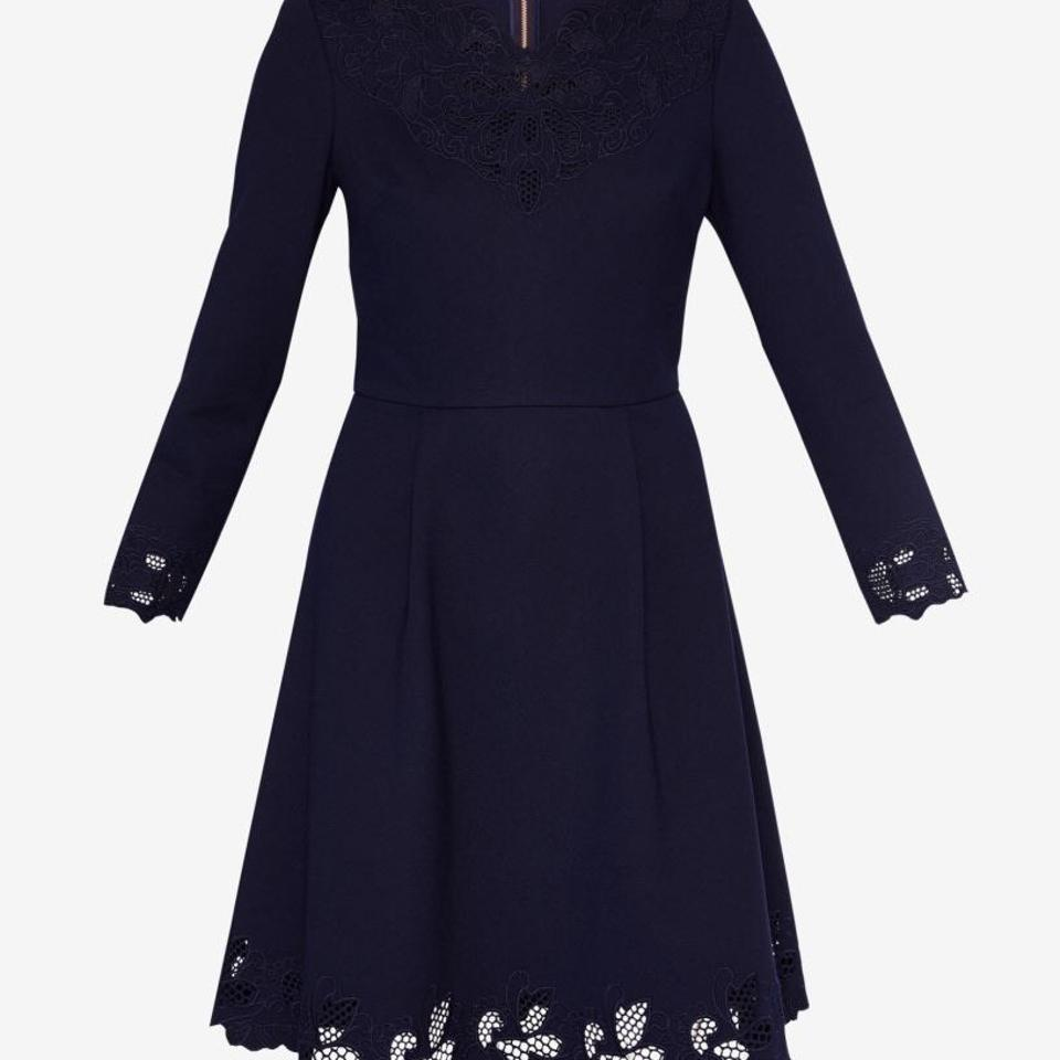 614ebd9635744 Ted Baker Navy Blue Emey Cutwork Embroidered Flowers Short Work Office  Dress Size 6 (S) - Tradesy