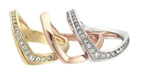 Michael Kors NWT MICHAEL KORS TRI TONE CRYSTAL STACKED RING SET SIZE 7 $115 MKJ6429