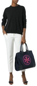 Tory Burch Beaded Embellished Logo Large Tote in Navy blue pink